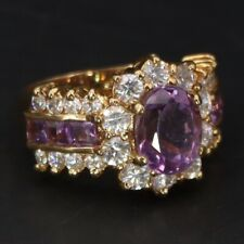 Gold Cocktail Ring Size 7 - 8g Sterling Silver Amethyst & Cubic Zirconia Cluster