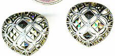 "925 Sterling Silver Marcasite Large Vague Heart Stud Earrings Width 5/8"""