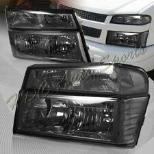For 2004-2012 GMC Canyon Smoke Headlights+Bumper Lamps W/Clear Reflector 4PCS