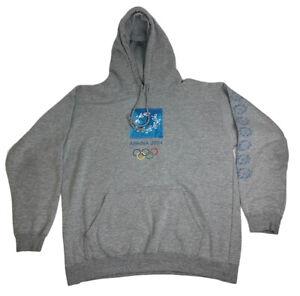 Olympics Athens 2004 Pullover Hoodie Sweatshirt Men's XL Gray