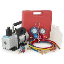 Dual Gauge R134a A/C HVAC Air Condition Tester Manifold 5CFM 1/2HP Vacuum Pump