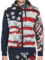 Lavish Society Men's American US Flag Tracksuit Zip Up Hoodie Jacket Pants Set