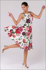 3.1k NWT Auth Dolce & Gabbana Midi Dress Peony Print Floral Buttons 48/12