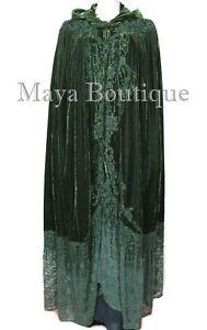 Cloak Opera Cape Dark Green Victorian Rep Long Velvet & Lace Lined Maya Boutique