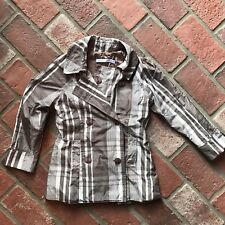 Very Important Children VIC Kids Size 4 Greige Gray Beige Plaid Rain Jacket