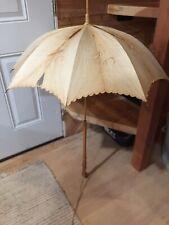 Antique Carriage Parasol~Umbrella~Birds Eye Maple Handle Bone Bovine-white silk