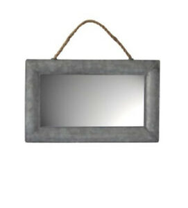 NEW Cheung's Galvanized Metal Framed Hanging Wall Mirror 8.5-in H x 13.5-in W