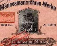 Mannesmann Röhren-Werke  Düsseldorf Aktie 1914 MMW Remscheid Mülheim Salzgitter