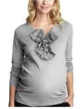 GAP MATERNITY Size L NEW W/Tags Cotton Blend Pullover Sweater W/Silk Ruffle Gray