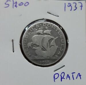 303# PORTUGAL  -  5 Escudos 1937 SILBER  KM#581  KEY DATE