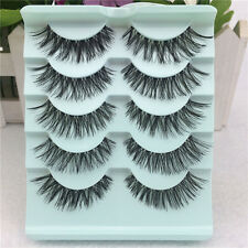 5 Pairs Cross Stunning Makeup Handmade Messy Natural False Eyelashes Eye Lashes
