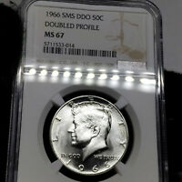 1966 SMS MS67 Doubled Profile Kennedy Half Dollar 50c, NGC Graded SP67 DDO