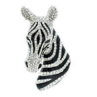 Rhinestone Crystals Horse Zebra Brooch Pin Broach Women Bag Shoe Accessories