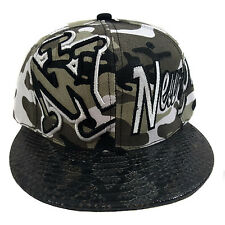 NEW YORK Snake Skin Camouflage Black Snapback Cap