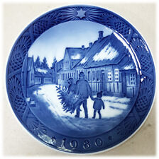 Royal Copenhagen Blue Christmas Plate 1980 Kai Lange Bringing Christmas Tree 7""