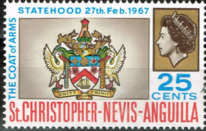 St.Chrosropher Nevis Anguilla Islands Coat of Arms stamp 1967 MLH A-1