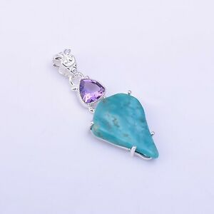 925 Sterling Silver Pendant, Turquoise Raw Gemstone Designer Jewelry RSP1244