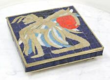 Vintage SALVADOR TERAN Brass Box. Mexican Inlaid Tile Glass Mosaic Art Case RARE