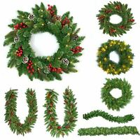 Pre-Lit Artificial Christmas Door Wreath Garland Holly Decorations Pine Cones