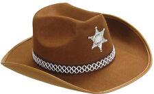Sheriff Sombrero De Vaquero marrón para adultos NUEVO - CARNAVAL Gorro kopfbed