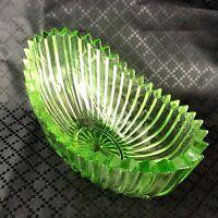 Vintage Vetro Ciotola Verde Sfaccettato Sega Taglio Originale Mid Secolo Moderno