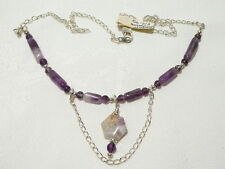 "AMETHYST AND CHAROITE GEMSTONE NECKLACE, ADJUSTABLE TO 44CM ""NEW"" AUZ MADE FN3"