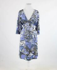 Blue taupe geometric stretch CLIPS TRICOT 3/4 batwing sleeve A-line dress IT46 1