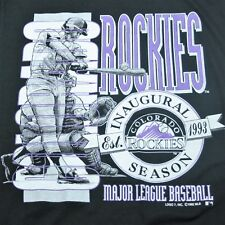 VTG LARGE  Colorado Rockies Baseball Inagural Season Black Paper Thin T Shirt