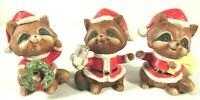 Lot Set of 3 Vintage HOMCO RACCOON Christmas Santa Figurines w/ Box 5611 EUC