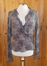 black ivory off-white spotted chiffon longsleeve wrap blouse tunic top 14 42 M&S