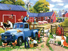 "UNOPENED SunsOut ""Spring Farm Days"", 20"" x 27"" Jigsaw Puzzle, Art by Kevin Walsh"