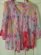 Womens top size L, Person-elle. Soft sheer pale colours. eBayMarket Exc Cond.