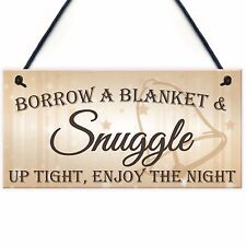 Snuggle Up Tight Enjoy The Night Cute Hanging Wedding Day Plaque Decor Gift Sign