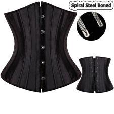 Black Trim Women Gothic Corset Basque Top Bustier Plus Waist Trainer Steel Boned