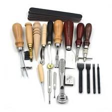 18PCS Leather Craft Tools DIY Sewing Carving Stitching Punch Saddle Work Kit