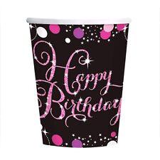 "AMSCAN 9900573 -Geburtstag & Party- Becher ""Happy birthday"", 8 Stk., pink"