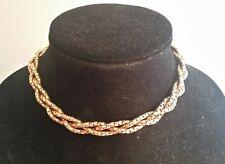 1940s Bigney 12KT GF BIGNEY Twisted Mesh Chain Vintage Jewelry Choker Necklace.