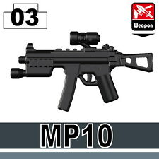 MP10 (W152) Sub Machine Gun compatible with toy brick minifigures