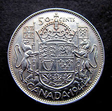 """"""" SILVER UNICORN AND LION COIN"""" CANADIAN HALF DOLLAR (1944)"""