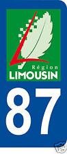 1 Sticker plaque immatriculation AUTO adhésif département 87