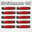 10 x 24v LED Rojo Luz de posición lateral Camión Trailer Caja TRANSPORTER