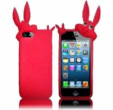 Apple iPhone 5 5S SE Rubber SILICONE Soft Gel Skin Case Cover Hot Pink Rabbit