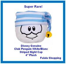 "FALALA GENUINE DISNEY CLUB PENGUIN PUFFLE WHITE/BLANC STRIPED NIGHT CAP 4"" PLUSH"