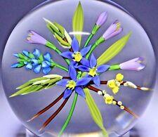 Stunning CHRIS BUZZINI Colorful FLOWER BOUQUET Art Glass PAPERWEIGHT