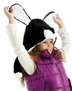 Girl's Black & White Faux Fur Rabbit Hat with long Ears