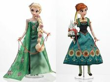 "Disney Store 17"" Limited Edition Frozen Fever ELSA and ANNA DOLLS - NEW IN BOX"