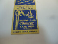 Mountain Inn Fayetteville AR Roy Brumfield MGR Vintage Early Matchbook Cover