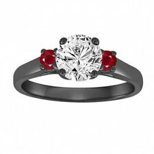 Vintage Engagement Ring,Diamond and Rubies ,GIA Certified 14K Black Gold 1.04 Ct