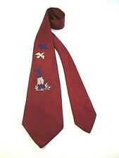 Authentic Vintage 1940s Post WWII Embroidered Duck Hunter Swing Tie