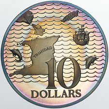 1975 TRINIDAD AND TOBAGO 10 DOLLARS UNC SILVER PROOF NICE COLOR TONED BU (MR)
